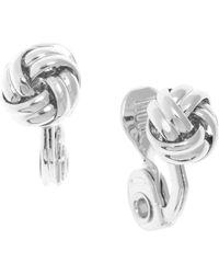 Anne Klein - Silvertone Knot Stud Earrings - Lyst