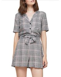 Miss Selfridge - Checkered Cropped Bowling Top - Lyst