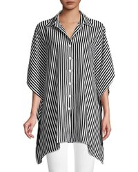 Tommy Bahama Sand Dune Striped Boyfriend Tunic - Black