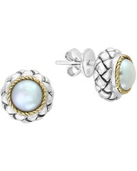 Effy - 925 Sterling Silver 18k Yellow Gold Freshwater Pearl Stud Earrings - Lyst