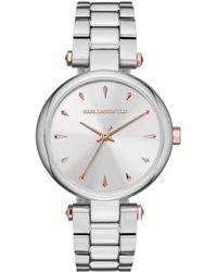 Karl Lagerfeld - Aurelie Stainless Steel Three-hand Bracelet Watch - Lyst
