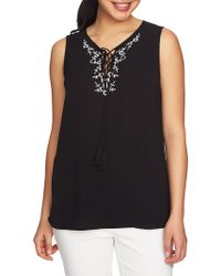 Chaus - Sleeveless Floral-embroidered Blouse - Lyst