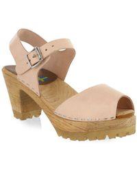 MIA - Greta Leather Ankle Strap Clogs - Lyst