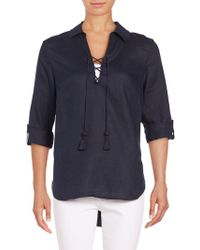 Lord & Taylor - Lace-up Linen Tunic - Lyst