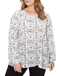 Addition Elle - Plus Floral Puff Sleeve Blouse - Lyst