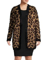 Lord & Taylor - Plus Leopard Printed Faux Fur Cardigan - Lyst