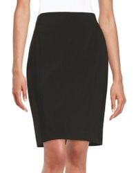 daba2d0dd6 Ivanka Trump Faux Suede And Leatherette Pencil Skirt in Black - Lyst