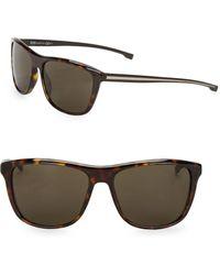 HUGO - Havana 64mm Square Sunglasses - Lyst