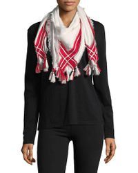 Lord & Taylor - Tasseled Stripe Square Scarf - Lyst