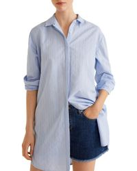 Mango - Lines Long Cotton Button-down Shirt - Lyst