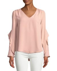 Lord & Taylor - V-neck Ruffle Blouse - Lyst