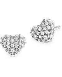 Michael Kors Kors Love Pavé Heart Sterling Silver Stud Earrings