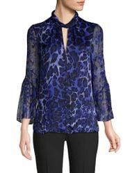 Elie Tahari - Laraib Keyhole Long-sleeve Leopard-print Silk Blouse - Lyst