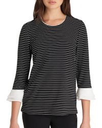 Karl Lagerfeld - Striped Bell Sleeve Top - Lyst