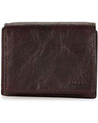 Fossil - Crinkle Leather Bi-fold Wallet - Lyst