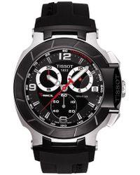 Tissot - Mens T-race Black Quartz Chronograph Rubber Strap Watch - Lyst