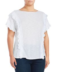Vince Camuto - Plus Ruffle Front Top - Lyst