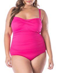 Lauren by Ralph Lauren - Plus Beach Club Solids One-piece Ruched Bandeau Swimsuit - Lyst
