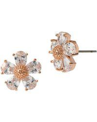 Betsey Johnson - Rose Goldtone And Glitz Flower Earrings - Lyst