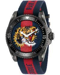 0dfd723f12f Gucci - Dive Black Pvd   Striped Nylon Strap Watch - Lyst