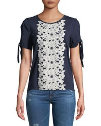 Ivanka Trump - Floral Embroidered Lace Tee - Lyst