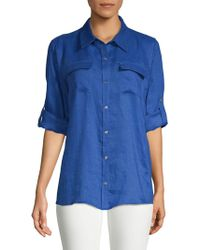CALVIN KLEIN 205W39NYC - Linen Roll Sleeve Blouse - Lyst
