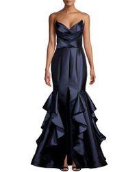 a4d459c5dd10 Nicole Bakti - Pleated Bustier Cascade Mermaid Gown - Lyst