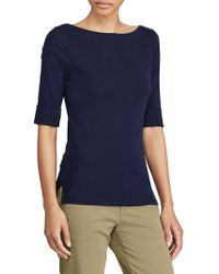 Lauren by Ralph Lauren - Stretch Cotton Boatneck Top - Lyst