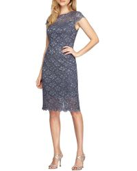 Alex Evenings - Embroidered Cap Sleeve Dress - Lyst