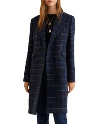 Mango - Structured Chequered Coat - Lyst