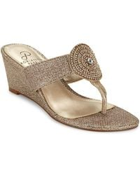 Adrianna Papell - Casey Embellished Wedge Sandals - Lyst