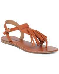 Lucky Brand - Anneke Leather Flat Sandals - Lyst