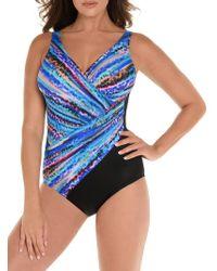 8d67432278 Miraclesuit - Animal Spectrum Oceanus Surplice Shaping One-piece Swimsuit -  Lyst