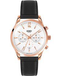 Henry London - Richmond Chronograph Leather Strap Watch - Lyst