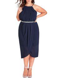 City Chic - Plus Chiffon Wrap Dress - Lyst