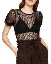 BCBGeneration - Lace Puff-sleeve Bodysuit - Lyst