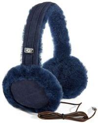 UGG - Leather-trimmed Shearling Built-in Speaker Earmuffs - Lyst