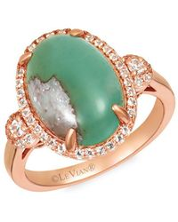 Le Vian - 14k Strawberry Gold? Peacock Aquaprasetm And Vanilla Topaztm Ring - Lyst