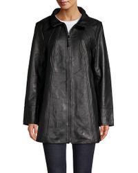 Jones New York - Oversize Leather Jacket - Lyst
