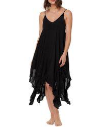 Bleu Rod Beattie - Rayon Handkerchief-hem Dress W/ Ruffle Cover-up (black) Women's Swimwear - Lyst