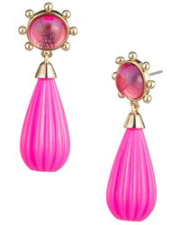 Trina By Trina Turk - Vintage Moment Linear Carved Goldtone And Pink Resin Teardrop Earrings - Lyst