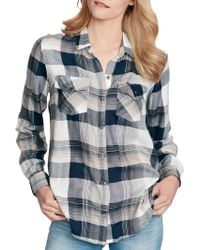 b08c812369 Lyst - Jessica Simpson Michi Gingham Shirt in Blue