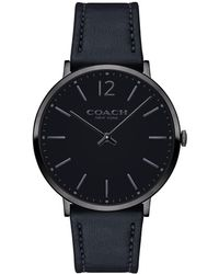 COACH - Slim Easton Sunray Dial Ionized Steel Leather Watch - Lyst