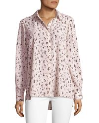 Ellen Tracy - Printed Chiffon Button-down Shirt - Lyst