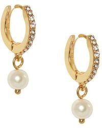 Vince Camuto - Museum Huggie Faux Pearl And Crystal Drop Earrings - Lyst