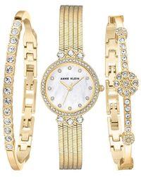 Anne Klein - Goldtone And Swarovski Crystal Bracelet And Watch 3-piece Set - Lyst