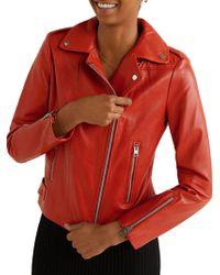 Mango - Perfect Leather Biker Jacket - Lyst