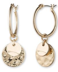 Lonna & Lilly - Goldtone Hoop And Disc Drop Earrings - Lyst
