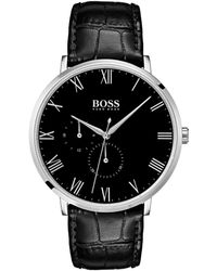 BOSS - William Ultra Slim Stainless Steel And Leather Strap Chronograph Watch - Lyst