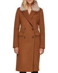 SOIA & KYO - Lorenza Crystal Fox Fur Slim-fit Double-breasted Coat - Lyst